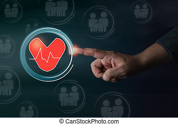 cuore, virtual., mano, assicurazione, tocco, diagramma, uomo affari, amore, famiglia, concetto