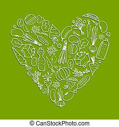 cuore, vita, sano, verdura, -, forma, disegno, tuo