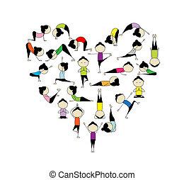 cuore, yoga!, forma, disegno, amore, tuo