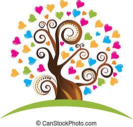 cuori, albero, ornamenti, logotipo