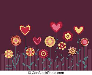 cuori, astratto, fiori, retro