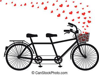 cuori, bicicletta tandem, rosso