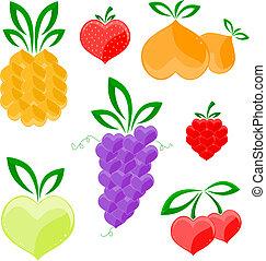cuori, -, frutte