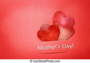 cuori, messaggio, carta, giorno, madri