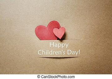 cuori, messaggio, childrens, rosso, giorno