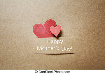 cuori, messaggio, felice, giorno, madri