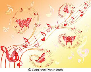 cuori, note, doga, farfalle, musicale