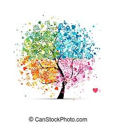 cuori, stagioni, -, estate, tuo, albero, quattro, autunno, arte, winter., primavera, fatto, disegno