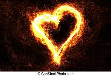 cuoriforme, fuoco, amore, cornice, valentines, romanza, copyspace., anello, giorno, scheda