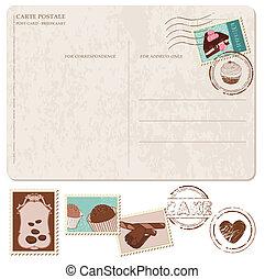 cupcakes, vecchio, cartolina, -, francobolli, progetto serie, scrapbooking