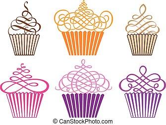 cupcakes, vettore, set