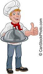 cupola, cuoco, presa a terra, uomo, chef, cartone animato, vassoio
