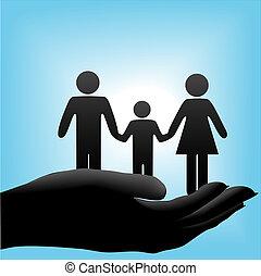 cuppe, bambino, padre, famiglia, madre