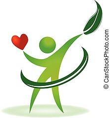 cura, logotipo, salute, cuore, natura