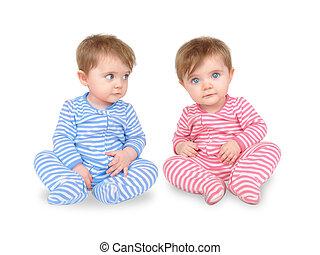 curioso, gemello, bianco, bambini