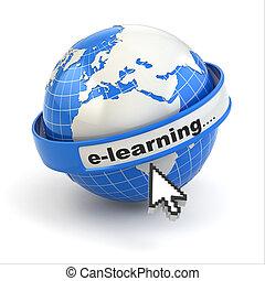 cursore, fondo., e-learning., terra, bianco, topo