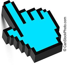 cursore, shadow., vector., mano, 3d, topo