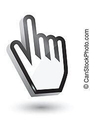 cursore, simbolo, vettore, 3d, mano