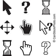 cursori, clessidra, pixel, mouse., mano, icons-arrow