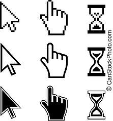 cursori, icons., mano, freccia, pixel, clessidra