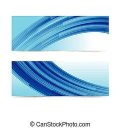 curva blu, astratto, bandiera, fondo