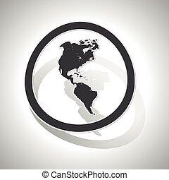 curvo, americano, segno, continenti, icona