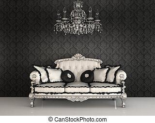 cuscini, divano, reale, lussuoso, candeliere, ornamento, interno, carte parati