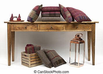 cuscini, tavola, credenza, 2, stile