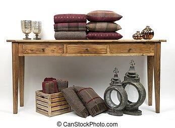 cuscini, tavola, credenza, stile, 3