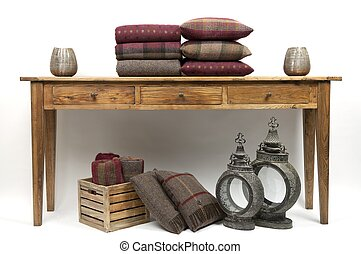 cuscini, tavola, credenza, stile, 4