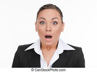 custodia, suo, donna d'affari, businesswoman., giovane, abbicare, isolato, dall'aspetto, mentre, macchina fotografica, bocca, ritratto, bianco, apra sorpreso