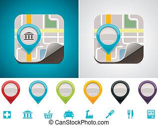 customizable, mappa, posizione, icona