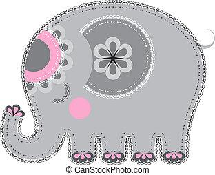 cutout., tessuto, animale, elefante