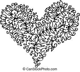 cxxxv, cuore, romantico, vignette