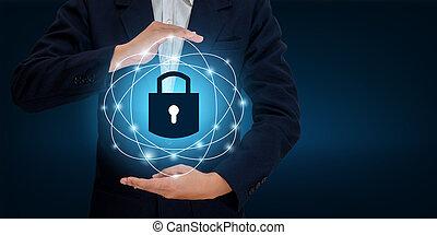 cyberspace., mani, sicurezza, informazioni, affari, uomo affari, spazio, dati, internet, serratura, concept., ingresso, scudo, proteggere, assicurare