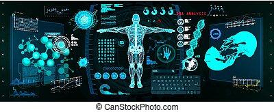 cyborg, interfaccia, scansione, gui, hud, futuristico