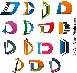 d, affari, disegno astratto, lettera, font, icona