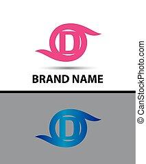d, disegno astratto, lettera, logotipo, icona