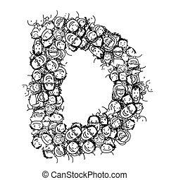 d, folla, persone, alfabeto, vettore, disegno, lettera