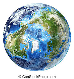 d, globo, pole)., artico, un po', interpretazione, clouds., realistico, 3, fondo., terra, bianco, (north, vista
