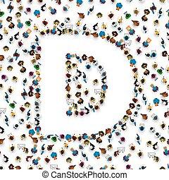 d., gruppo, persone, lettera alfabeto, inglese