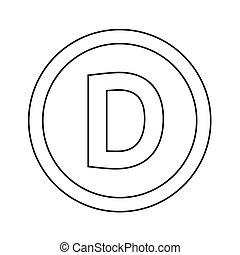 d, illustrazione, disegno, lettera, fondamentale, font, icona