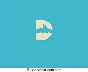 d, logotipo, lettera, squalo, astratto, ditta, affari, icona, silhouette