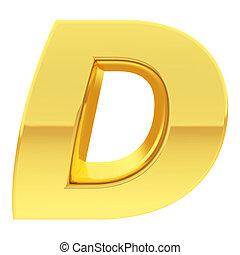 d, oro, pendenza, alfabeto, simbolo, isolato, riflessioni, lettera, bianco