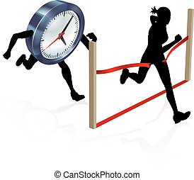 da corsa, contro, orologio