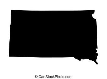 dakota, mappa, nero, sud
