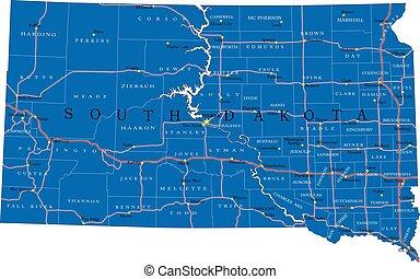 dakota, mappa, sud, stato, politico