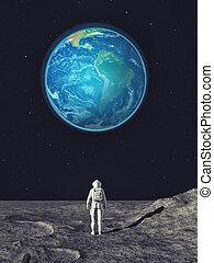 dall'aspetto, città, moon., astronauta, fondo