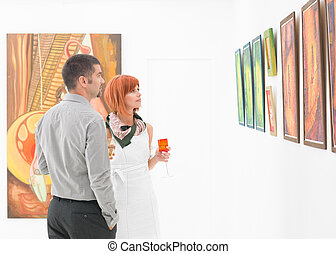 dall'aspetto, galleria arte, dipinti, persone