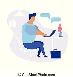 dall'aspetto, lavoro, concetto, illustrazione